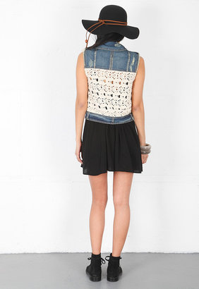 Free People Rugged Ripped Macrame Cargo Vest in Moody Blue Combo