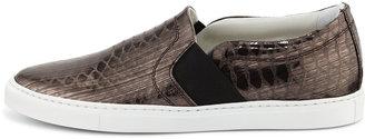 Lanvin Snake-Embossed Slip-On Sneaker, Silver