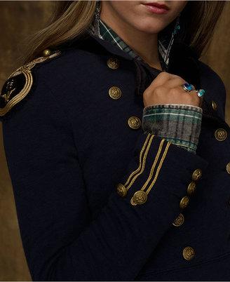 Denim & Supply Ralph Lauren Velvet-Trim Peplum Military Blazer