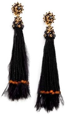 Oscar de la Renta Long Feather Beaded Tassel Clip-On Earrings