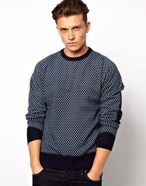 G Star G-Star Marc Newson Crew Sweatshirt Kasuri Print - Indigo