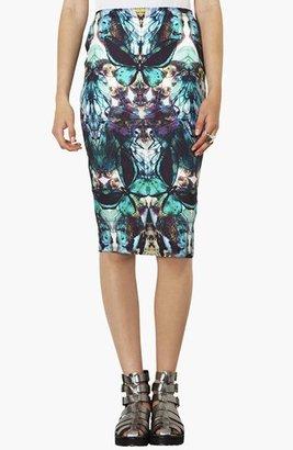 Topshop Moth Print Tube Skirt