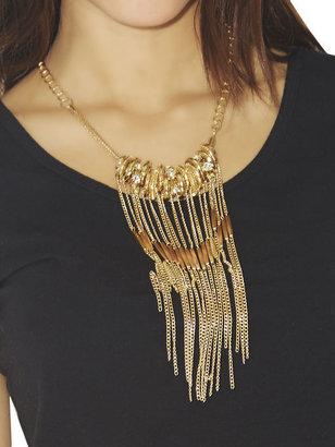 Arden B Metal Rings & Fringe Necklace