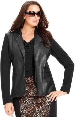 MICHAEL Michael Kors Size Jacket, Faux-Leather Ponte-Knit Blazer