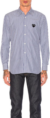 Comme des Garcons Broad Stripe Cotton Button Down in Blue | FWRD