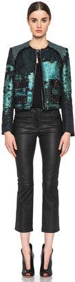 Proenza Schouler Tweed Collarless Jacket in Teal & Black