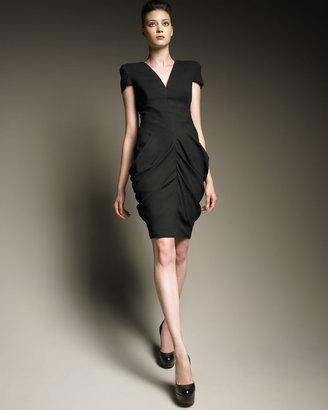 Alexander McQueen Ruched Hip Cap-Sleeve Dress