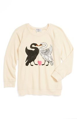 Wildfox Couture 'Kissing Swans' Sweatshirt (Big Girl)