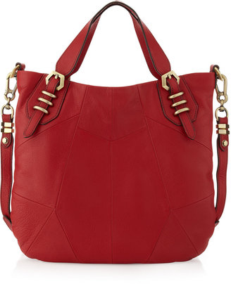 Oryany Paneled Satchel Bag, Red
