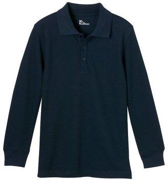 Boys' Uniform Long-Sleeve Piqué Polo - Navy