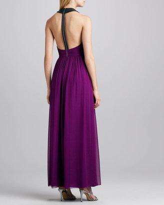 Alice + Olivia Runnie Leather-Back Maxi Dress