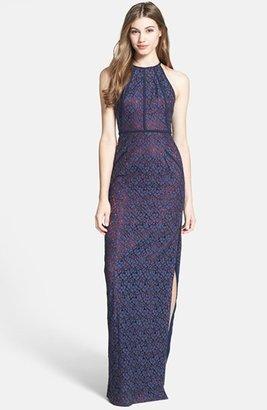 Black Halo Eve Laurel Berman 'Alyssa' Lace Halter Gown