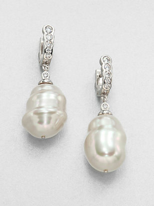 Majorica 25MM Baroque Pearl Huggie Drop Earrings