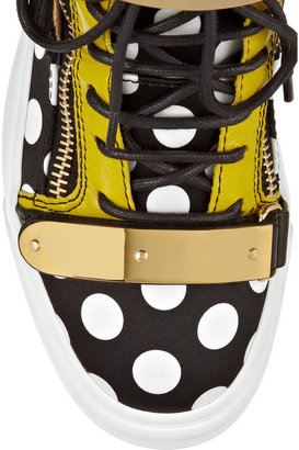 Giuseppe Zanotti London leather and printed silk-satin high-top sneakers