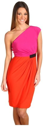 Donna Morgan One Shoulder Color Block Jersey Dress (Hot Coral/Hot Pink) - Apparel