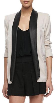Alice + Olivia Two-Tone Leather-Collar Blazer