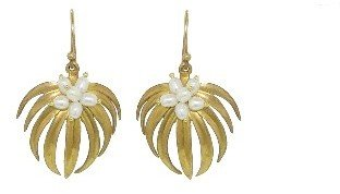 Annette Ferdinandsen Small Curved Palm Earrings with Pearls - 18 Karat Yellow Gold