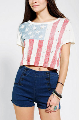 Truly Madly Deeply Shredded Flag Cropped Tee