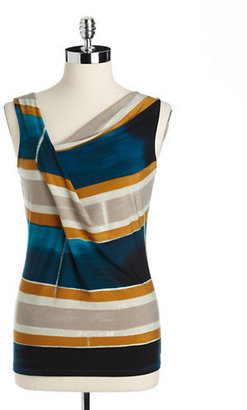 Ivanka Trump Striped Cowlneck Top