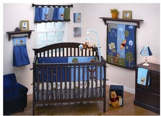 Disney Winnie the Pooh Up and Away Four Piece Crib Set - Blue