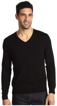 Calvin Klein Tipped Merino V-Neck (Black) - Apparel