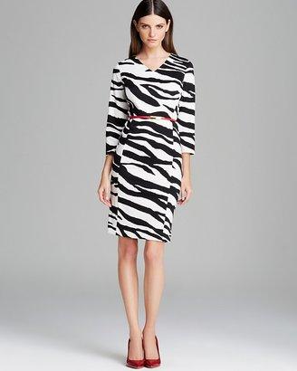 Jones New York Collection Belted Zebra Dress
