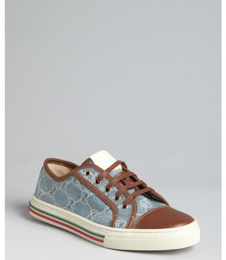 Gucci blue GG denim and leather 'California Low' cap toe sneakers