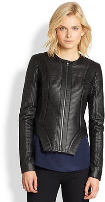 BCBGMAXAZRIA Ribbed Paneled Faux Leather Jacket