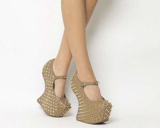 Jeffrey Campbell Prickly Wedge Taupe Leather Gold Spike