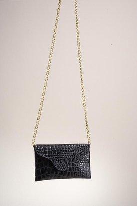 JJ Winters Chain Leather Croco Miley Clutch in Black