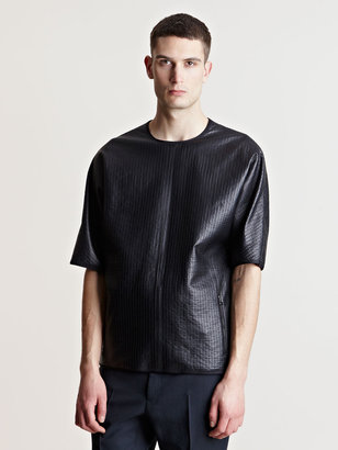Lanvin Men's Topstitched Leather T-shirt