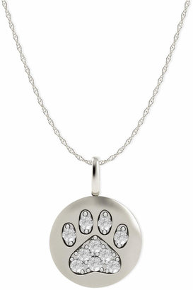 Macy's 14k White Gold Necklace, Diamond Accent Paw Disk Pendant