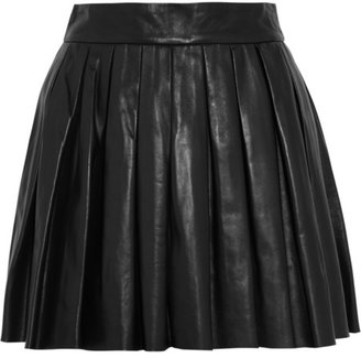 Alice + Olivia Pleated leather mini skirt