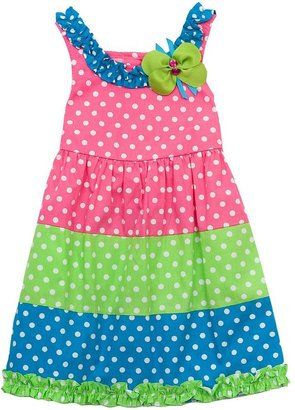 Rare Editions polka-dot colorblock sundress - baby