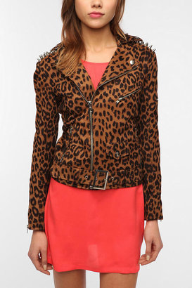 Urban Outfitters UNIF Leopard Studded Moto Jacket