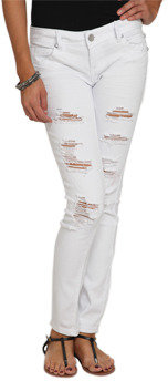 Wet Seal WetSeal White Destroyed Skinny Jean White