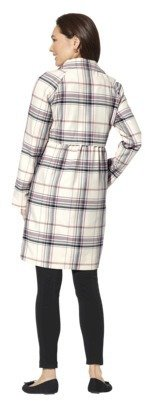 Merona Women's Plaid Topper Coat -Winter White