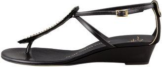 Giuseppe Zanotti Strass T-Strap Wedge Sandal, Black