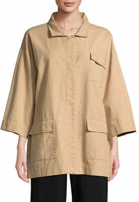 Eileen Fisher Sueded Organic Cotton and Hemp Canvas Jacket