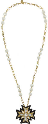 Tory Burch Selma gold-plated, faux pearl and crystal necklace