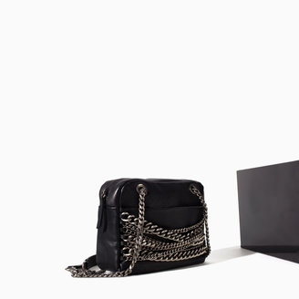 Zara Leather City Bag With Chains