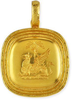 Elizabeth Locke 19k Gold Griffin & Palm Livery Button Pendant