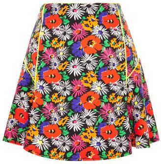Veronica Beard Hothouse Floral Scuba Flounce Skirt