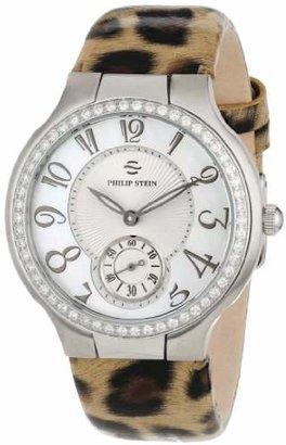 Philip Stein Teslar Women's 42D-FMOP-LLBR Round Diamond Mother-of-Pearl Leopard Print Patent Strap Watch