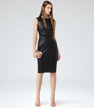 Reiss Amis LEATHER AND FABRIC FITTED DRESS
