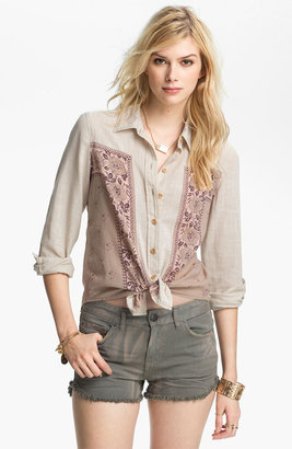 Free People 'Born Free' Floral Panel Shirt