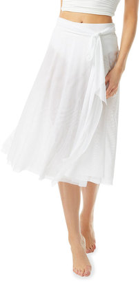 Carmen Marc Valvo Bowline Soiree Mesh Swing Coverup Skirt