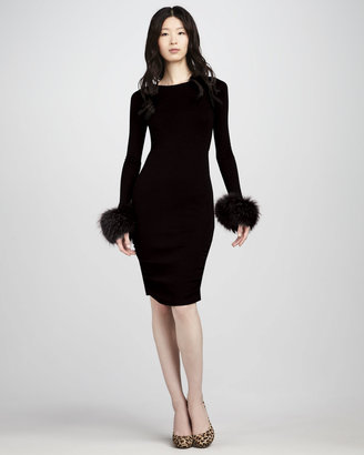 Alice + Olivia Alesia Fur-Cuff Dress