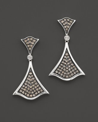 Badgley Mischka White And Brown Diamond Pavé Earrings