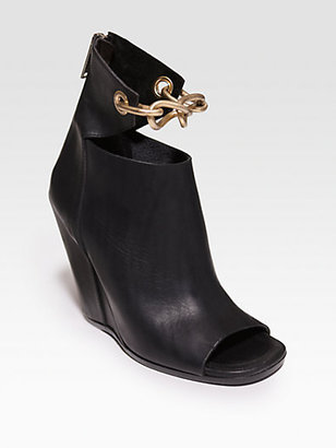 Rick Owens Leather Chain-Detail Wedge Ankle Boots